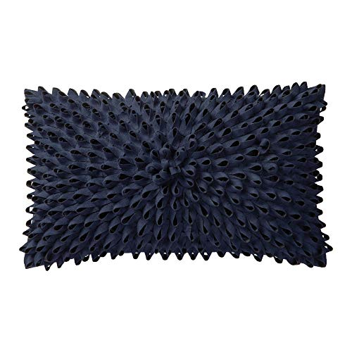 KingRose 3D Handmade Flower Home Decorative Accent Throw Pillow Case Solid Suede Artistic Cushion Cover for Sofa Couch Chair 12 x 20 Inches Navy Blue -