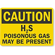 """SmartSign Plastic Sign, Legend """"Caution: H2S Poisonous Gas May Be Present"""", 10"""" high x 14"""" wide, Black on Yellow"""