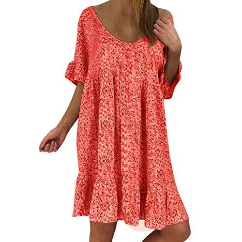 MURTIAL Women's Dress Sexy Loose Print Hlaf Sleeve Ruffles Mini Dress Summer(Red,L)