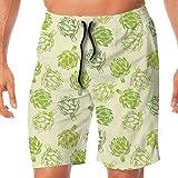Haixia Men Summer Beach Pants Artichoke Hand Drawn Fresh Vegetable Sketch Tasty