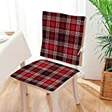 Mikihome Seat Cushion British Skirt Cloth Print Squares B Lines Art Print White and Ruby 2 Piece Set Home Fashions seat Cushion Set Mat:W17 x H17/Backrest:W17 x H36