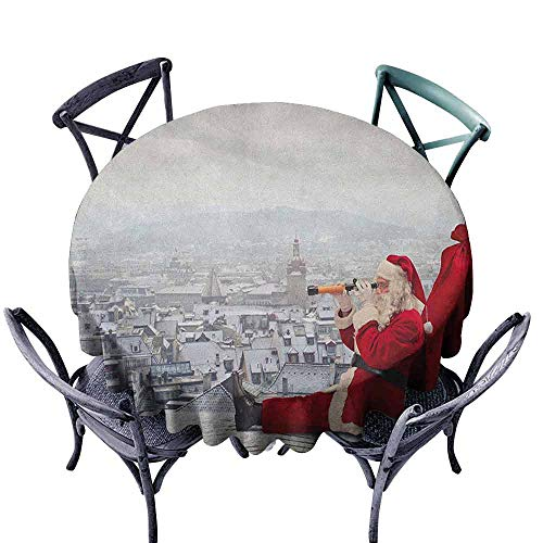 duommhome Christmas Restaurant Tablecloth Santa Claus Sitting on Roof Top Looking Through Binoculars Cloudy Cityscape Easy Care D71 Red Pale Grey