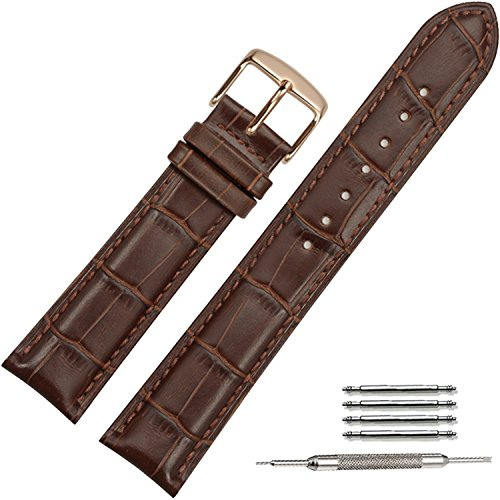 TStrap 20mm Brown Leather Watch Bands Replacement Watch Strap 20mm Rose Gold Watch Buckle Clasp(18mm 20mm 22mm)