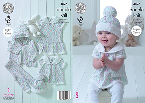 King Cole Baby Double Knitting Pattern Raglan Sleeve Pleated Set - Dress Top Hat & Leggings ()