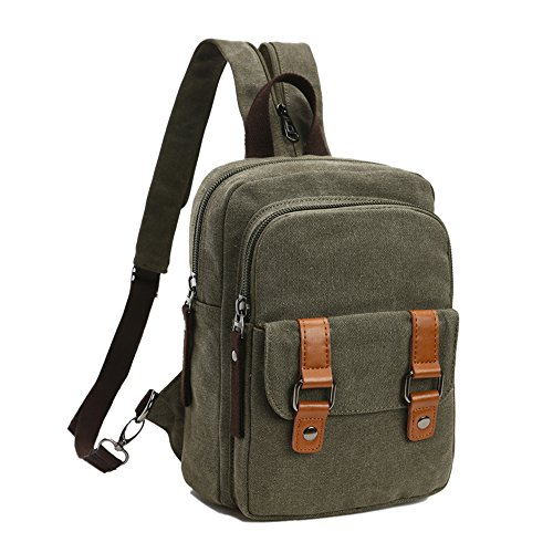 (Arbag Small Cute Backpack Vintage Casual Canvas Shoulder Bag Daypack (Army green))