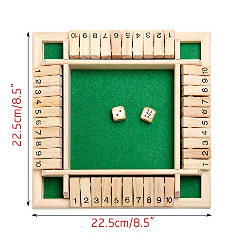 4 Players Shut The Box Dice Game, Classics Tabletop Version and Pub Board Game, Traditional 4 Sided Wooden Board Game for Kids Adults (Green)