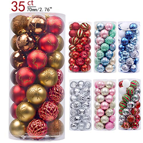 Valery Madelyn 35ct 70mm Woodland Red Brown Shatterproof Christmas Ball Ornaments Decoration,Themed with Tree Skirt(Not Included)