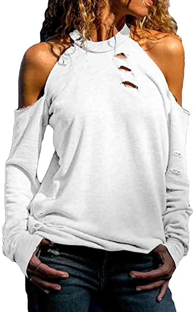 Women Cold Shoulder Long Sleeve Top Ladies Casual Loose Ripped Blouse Pullover