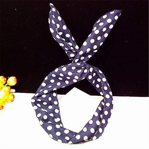 Girls Bow Bunny Ear Flamingo Print Hairband Headband Head Wrap Headwear (Colors - dot navy blue)