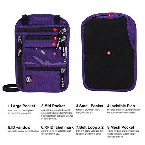 Zoppen RFID -Blocking Travel Passport holder Neck Stash Ultra Slim Wallet Purple by Zoppen (Image #1)