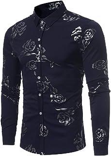 Dempuss Men Shirts Autumn Casual Rose Print Long Sleeve T-Shirt Business