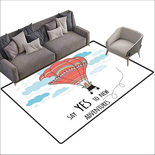 """Outdoor Kitchen Room Floor Mat Cartoon,Inspirational Quote Say Yes to New Adventures Cute Hand Drawn Hot Air Balloon,Coral Sky Blue 60""""x 72"""",Bath Rugs for Bathroom"""