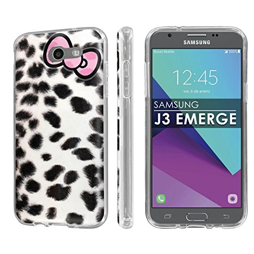 (Samsung Galaxy J3 Emerge [2017] [NakedShield] [Clear] Total Armor Rubber Gel Phone Case [Screen Protector] - [Snow Leopard Ribbon] for Galaxy [2017] [J3 Emerge])