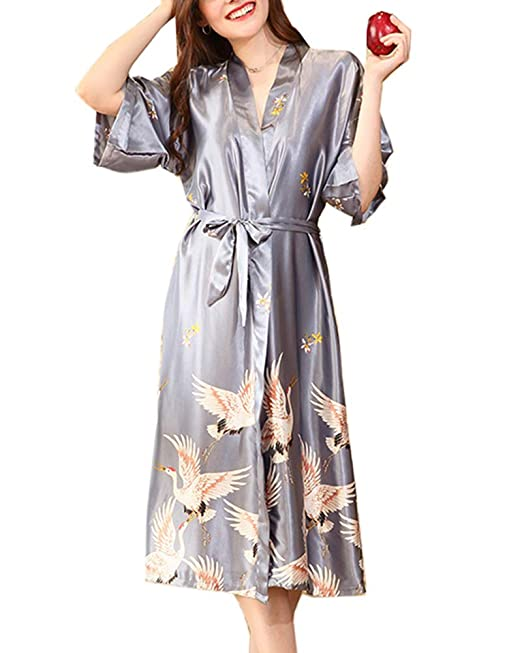 Yanlian Vestido Pijama Mujer Kimono Satén Kimono Satén Bata Albornoz Camisón con Cinturón: Amazon.es: Ropa y accesorios