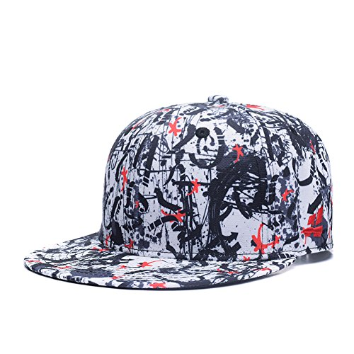Quanhaigou Red Dancing Stars Snapback,Fashion Graffiti Baseball Cap Black Flexible Arrow Plain Adjustable Hats, Black Red White, One Size (La Galaxy Snapback)