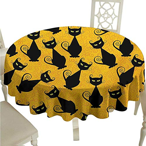 Zodel Restaurant Tablecloth Vintage Black Cat Pattern for Halloween on Orange Background Celebration Graphic Patterns Picnic D70 Suitable for picnics,queuing,Family -