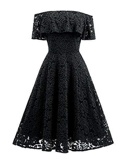 Dress Black Beautiful (Shopall Women's Vintage Ruffled Off Shoulder Lace Cocktail Evening Party Swing Dress Black XX-Large)