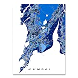 Mumbai Map Art Print, India City Wall Artwork, Blue, Bombay