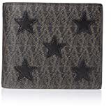 YVES SAINT LAURENT Men's Toile Monogram California East/West Printed Leather Star-Stitched Wallet, Brown/Black, One Size