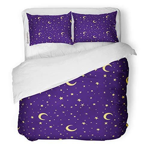 Semtomn Decor Duvet Cover Set Twin Size Purple Golden Yellow Moon and Stars Sky on Blue 3 Piece Brushed Microfiber Fabric Print Bedding Set ()