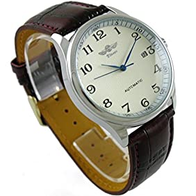VIGOROSO Men's Classic Automatic Mechanical Day Calendar Luxury Leather Band Watch