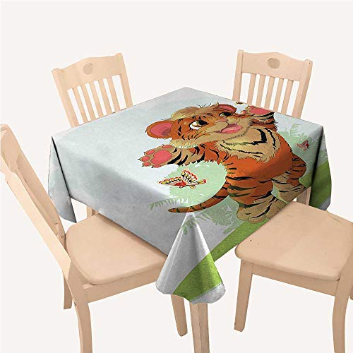 (WilliamsDecor Cartoon Cloth tablecloths Cub Playing with Butterflies in The Meadow Joyful Lively Baby Tiger CatOrange Cream Green Small Square Tablecloth W36 xL36 inch)