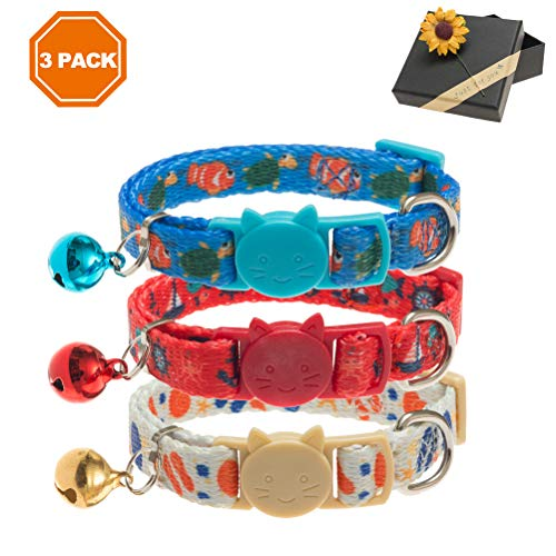 Bell Collar Designer - PAWCHIE 3 Pcs Breakaway Cat Collar with Bell Adjustable Collar Set with Ocean Pattern Designer for Kitten 7-11 Inches