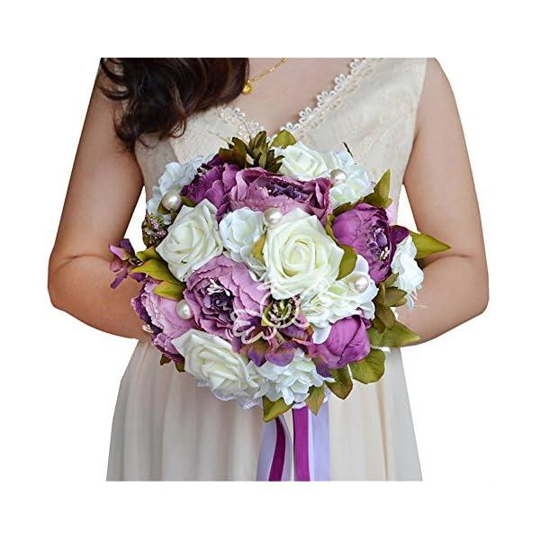 USIX Handmade Vintage Silk Flowers Peony Pearl Rose Bridal Holding Wedding Bouquet, Lace and Ribbon Decorated Bouquet, Wedding Flower Arrangements Bridesmaid Bouquet (Purple)