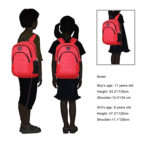 Veegul Cool Backpack Kids Sturdy Schoolbags Back to School Backpack for Boys Girls,Red by Veegul (Image #6)