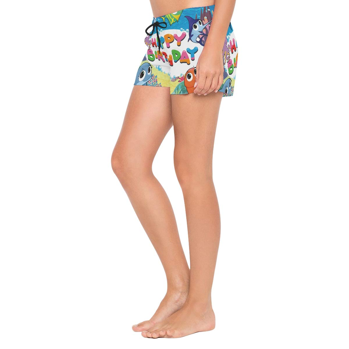 Womens Beach Shorts Ocean Animals Lovely Fish Happy Birthday Swim Trunk with Pockets