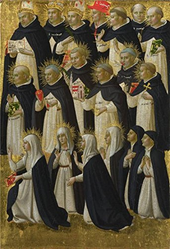 Perfect Effect Canvas ,the Best Price Art Decorative Prints On Canvas Of Oil Painting 'Fra Angelico - The Dominican Blessed (1),about 1423-4', 20x29 Inch / 51x74 Cm Is Best For Kitchen Artwork And Home Decoration And Gifts - Prince Graphite Oversize
