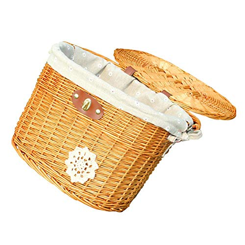Best Price Gentman Wicker Burlap Front Handlebar Bike Basket Adult Bicycle Cargo Basket