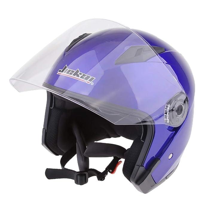 Baoblaze Dual Visors Motorcycle 3//4 Open Face Half Helmet Full Shield Visor Helmets Blue L