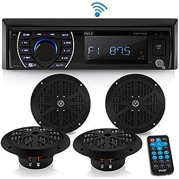 Amazon com: Marine Stereo Receiver Speaker Kit - in-Dash LCD