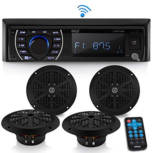 Marine Head Unit Receiver Speaker Kit - In-Dash LCD Digital Stereo Built-in Bluetooth & Microphone w/ AM FM Radio System 6.5'' Waterproof Speakers (4) MP3/SD Readers & Remote Control - Pyle PLMRKT