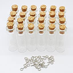 24pcs 2ml Vials Clear Glass Bottles with Corks with 24pcs screws Cork Empty Sample Jars Small