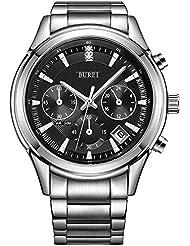 BUREI Men Chronograph Quartz Wrist Watch Black Analog Dial Silver Case Stainless Steel Band