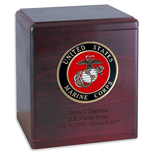 Rosewood Wooden Military Cremation Urn for the Marine Corps Veteran with Custom Inscription - Personalized Wood Funeral Urns Made in the USA (more options available)