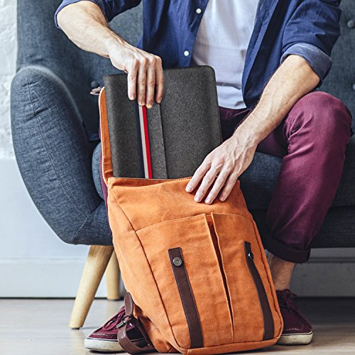 HOMIEE 15-15.4 Inch Laptop Sleeve MacBook Sleeve Carrying Case for 2019 MacBook Pro 16 Inch, 15 Inch MacBook Pro 2015-2019 and Dell XPS 15, Dark Gray