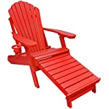 ECCB Outdoor Outer Banks Deluxe Oversized Poly Lumber Folding Adirondack  Chair With Integrated Footrest (Bright