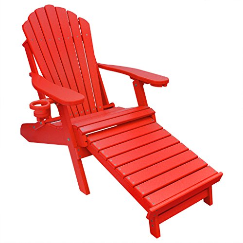 ECCB Outdoor Outer Banks Deluxe Oversized Poly Lumber Folding Adirondack Chair with Integrated Footrest (Bright Red) ... ()
