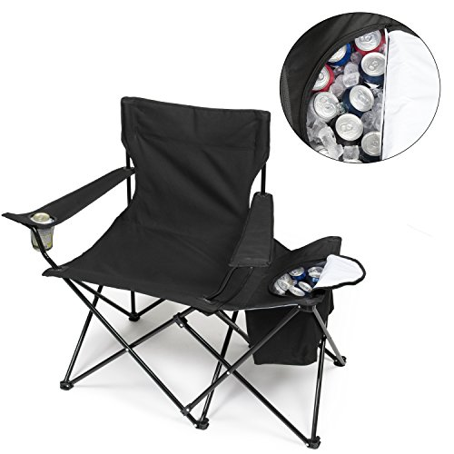 Tailgating Chair w Insulated Cooler- XXL Size Collapsible Folding Camping Chair w Cup Holder and Travel Bag (Insulated Cooler Chair)