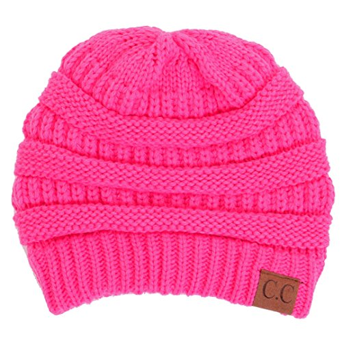By Summer C.C Warm Soft Cable Knit Skull Cap Slouchy Beanie Winter Hat (Candy - Knit Beanie Pink