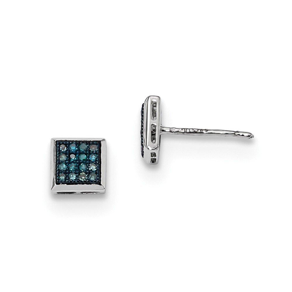 Sterling Silver Blue Diamond Post Earrings