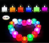 24pcs Tealights - Colour Changing Flickering Flameless LED Candle Light Tea light Mood Light for Wedding Party Club Decor in White (Battery include)