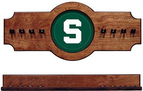 wave NCAA Michigan State Spartans MSUCRR100-P 2 pc Hanging Wall Pool Cue Stick Holder Rack - Pecan