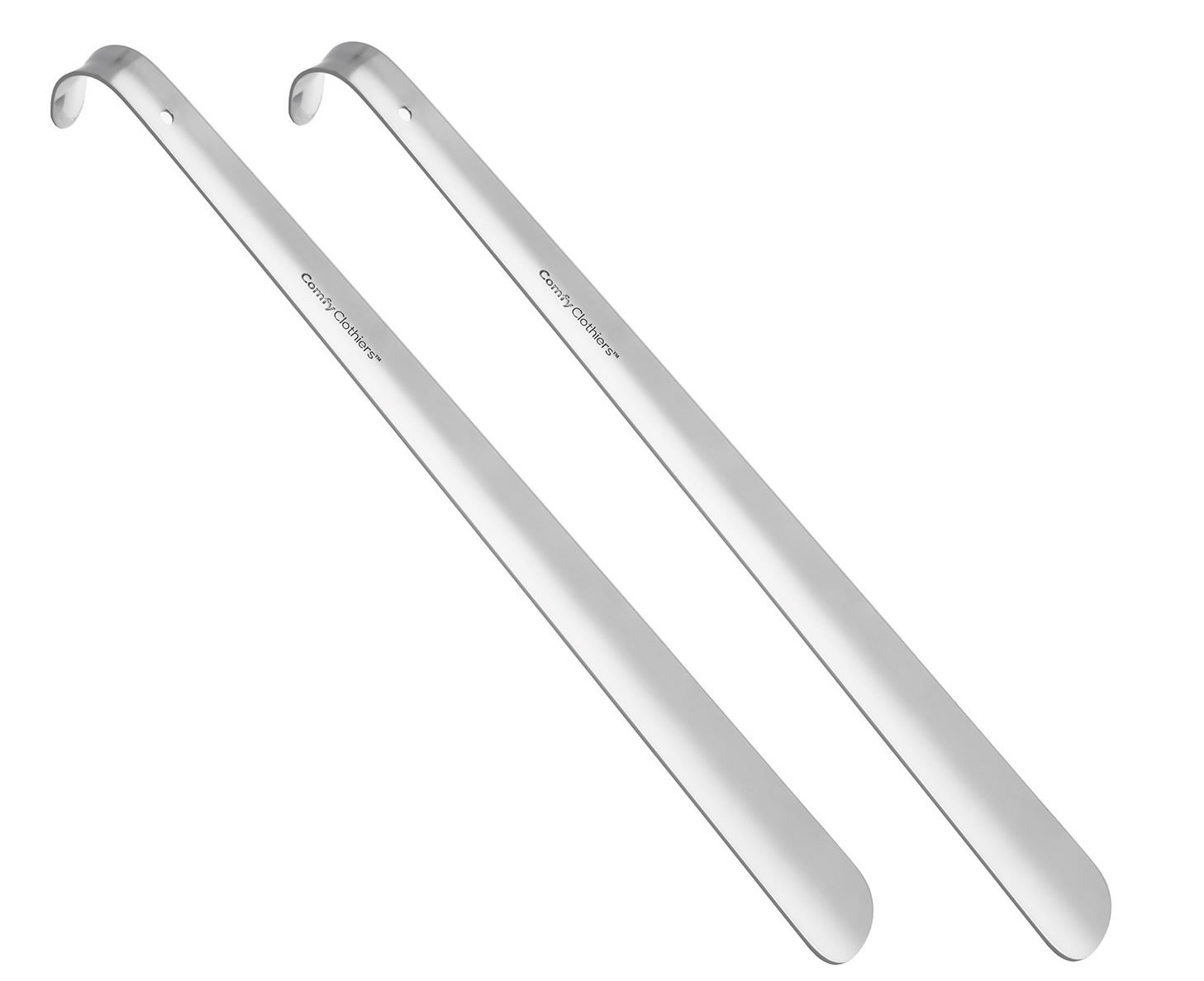Comfy Clothiers 18-Inch Long Metal Shoe Horn (2-Pack) Heavy Duty Stainless Steel Long Handle Shoehorn