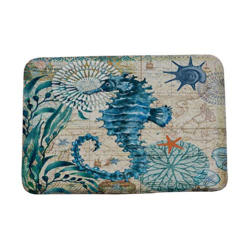 crack of dawn Marine Style Door Mat Floor Carpet for Living Room Sea Turtle Pattern Coral Fleece Rug Anti-Slip Doormat Home Decor,sea Horse,500x800mm
