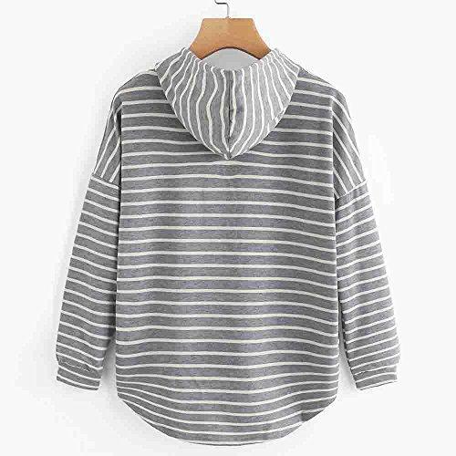 Felpa manica pullover cime Stripe size da plus donnaDonne sciolto casuale semplice LQQSTORE lunga felpa maglione UAwBq6p