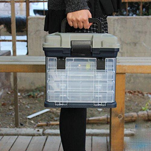 forfar 5 strati Big Pesca Tackle Box Pesca Tackle Strumento di archiviazione Caso scatola con la maniglia 27 17 26cm
